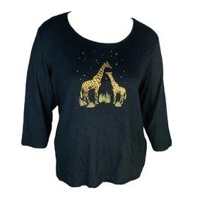 Karen Scott Safari Giraffe Black 3/4 Sleeve 2X